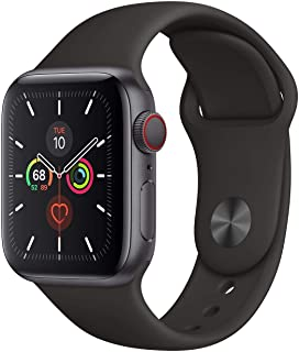 Apple Watch Series 5 GPS + Cellular - 40mm Space Gray Aluminum Case with Black Sport Band (Renewed)