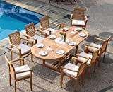 WholesaleTeak New 9 Pc Luxurious Grade-A Teak Dining Set - 94' Mas Oval Table (Trestle Leg) and 8 Mas Stacking Arm Chairs #WHDSMSf