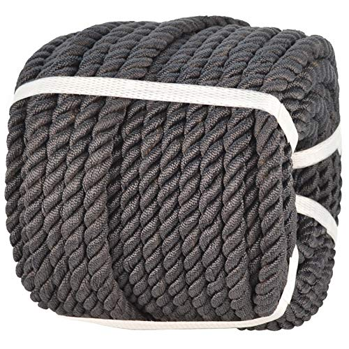 Twisted Polyester Rope (1/2 inch x 50 feet) Three Strand Strong Nylon Rope for Pull, Swing, Climb and Knot, High Strength Hanging DIY Projects Black