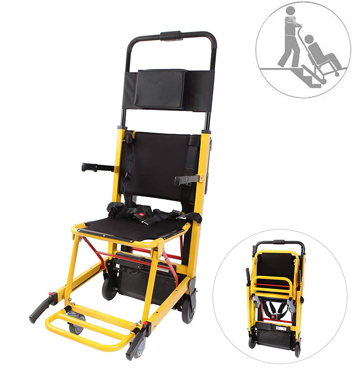 印象ウミウシ養うバッテリー駆動のトラック階段昇降チェアヘビーデューティーエマージェンシー軽量折りたたみ避難階段椅子、積載量365ポンド