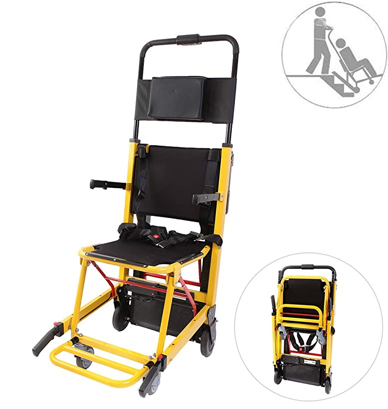 まばたきインゲン比較バッテリー駆動のトラック階段昇降チェアヘビーデューティーエマージェンシー軽量折りたたみ避難階段椅子、積載量365ポンド
