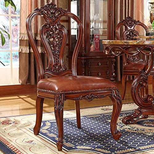 Renovación del hogar Sillas de comedor Silla de madera maciza Silla tallada de doble cara con respaldo hueco Ensamblaje de silla de cuero para el hogar Paquete simple de 2 (Color: Marrón Tamaño: 50