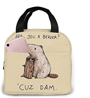 GFBDBZ Are You A Beaver Cuz Dam Portable Insulated Lunch Bag Tote Bag With Front Pocket Thermal Cooler Bag For Woman Man Students Work Travel Or Picnic