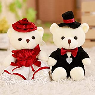 2pcs/lot 18cm Lovely Couple Bear Wedding Teddy Bear Plush Toys Wedding Gift Bride & Groom Bear Bouquet Doll Gift for Girl Burgundy