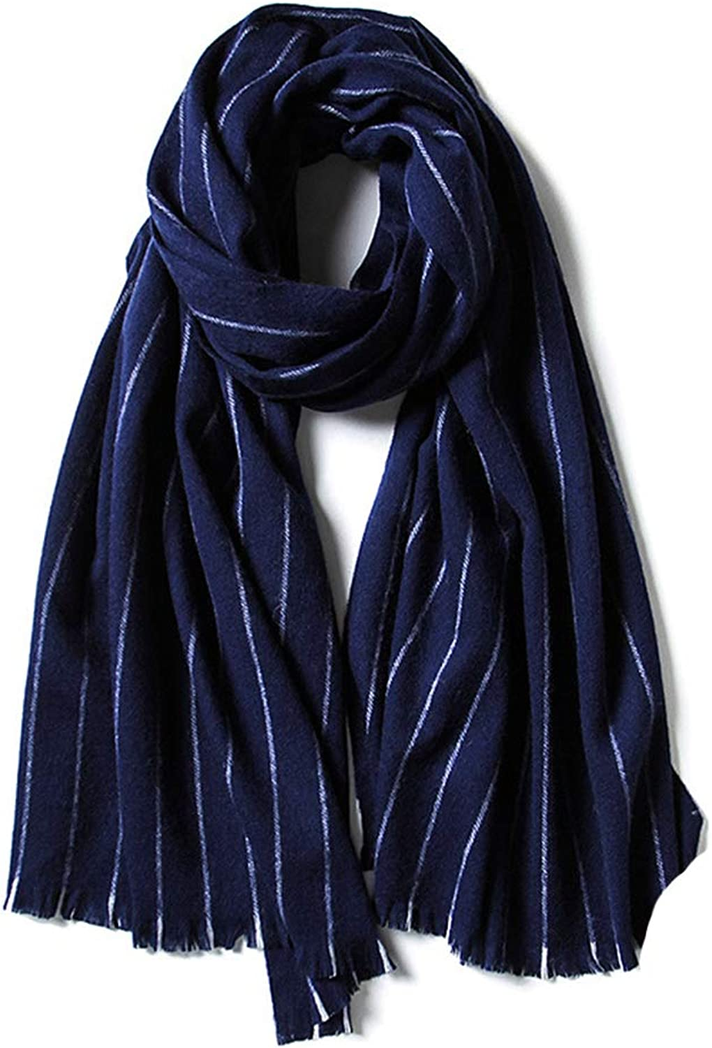Warm Thick Long Scarf for Women Men Hight Quality Fashion Striped Collar Dark bluee Wrap Shawl Fall Winter Super Soft Scarves for Couple Gift