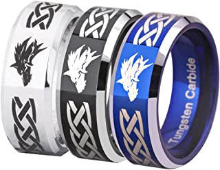 Cloud Dancer Free Custom Engraving Three Colors(Silver/Blue/Black) The Legend of Zelda Ring- Wolf Link Ring Tungsten Carbide Wedding Bands Ring