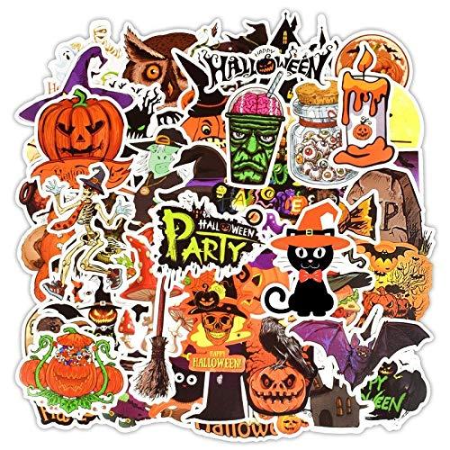 LSPLSP Halloween Sorpresa Calabaza Jack Bruja Dibujos Animados Graffiti Notebook Maleta Monopatín Impermeable Decoración Pegatina 50pcs