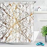 JIAXIN Línea de Textura Abstracta Set Decoración de baño Cortina de Ducha de Secado rápido Impermeable 180x180CM