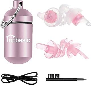 耳栓 安眠 防音 Topbasic 異なる2種類 耳栓 睡眠 飛行機 仕事 勉強 水洗い可能 携帯ケース付き コード付き ブラシ付き 日本語説明書付 2ペア T-4 ピンク