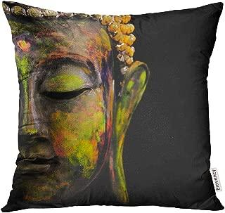 VANMI Throw Pillow Cover Black India Colorful Buddha White Zen Culture Decorative Pillow Case Home Decor Square 18x18 Inches Pillowcase