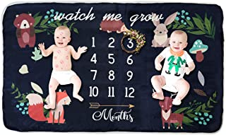 Fleece Baby Monthly Milestone Blanket Extra Large Photography Background Blanket Thick Backdrop Prop Swaddle Baby Shower Gift for Single & Twins (for Twins)