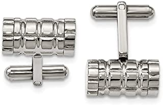 Stainless Steel Polished Grooved Cylinder Cufflinks