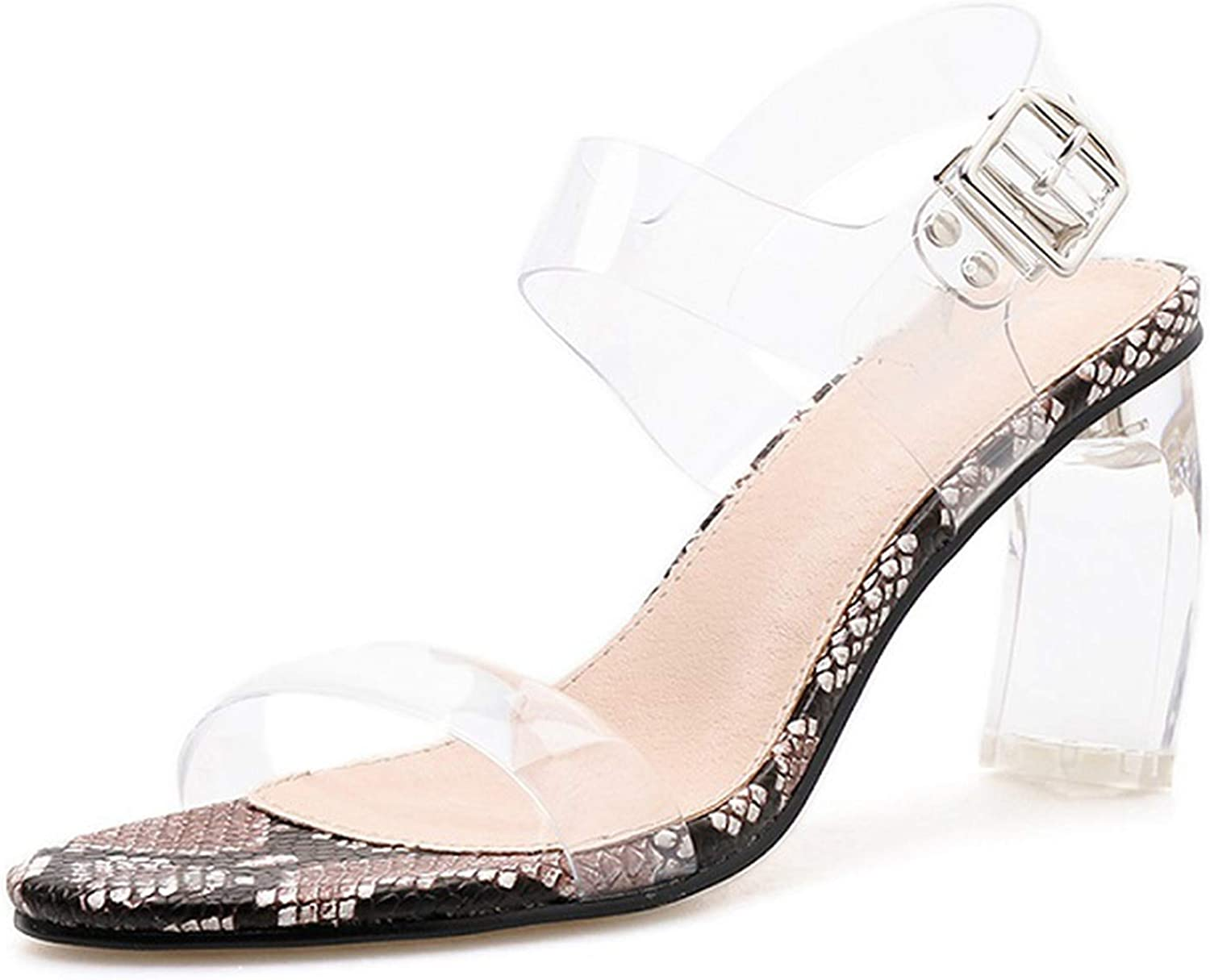 April With You New Summer Ladies Sandals Fashion Sexy Transparent Snake Pattern Open Toe Metal Square Buckle shoes