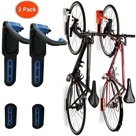 BESTINE Soporte para Bicicletas Montado en la Pared Gancho Organizador para Colgar Ciclos de Alta Tesistencia con Tornillos Blue 2 Soportes Verticales para Bicicletas Recubiertos de Goma