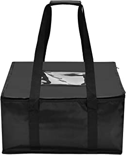 Nylon Large Insulated Food Delivery Bag Black Food Packing Nylon Bag 16in x 13in x 9in(H) Quality Thermal Insulated Food Carry Bag for Food Delivery Companies; Perfect Pizza Delivery Bag