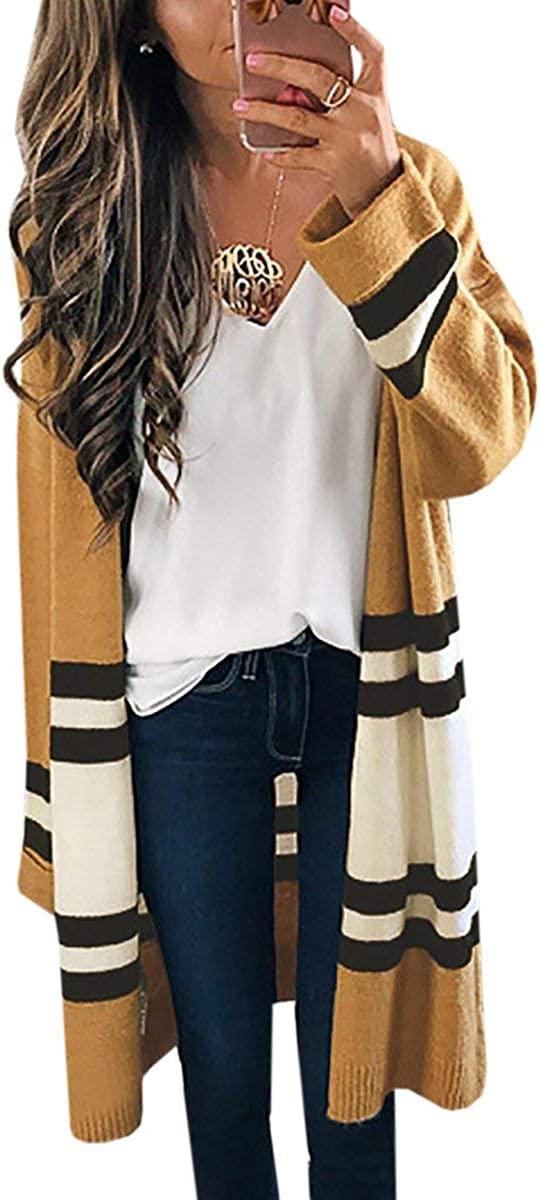 JOSUSY Womens Color Block Striped Draped Kimono Cardigan with Pockets Long Sleeve Open Front Casual Knit Sweaters Coat