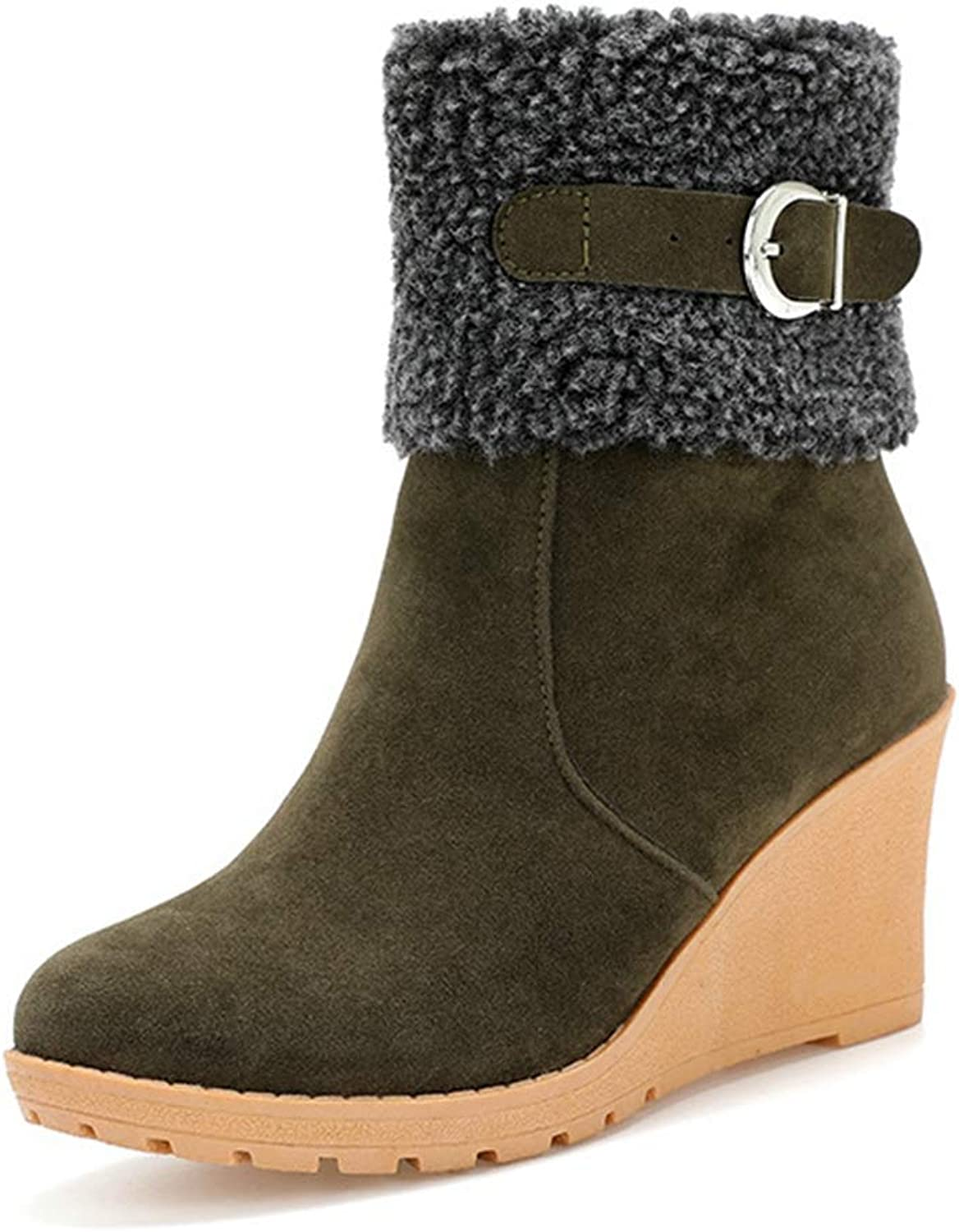 CYBLING Women's Faux Suede Wedge Heel Mid-Calf Boots Outdoor Warm Fur Lined Ankle Short Booties