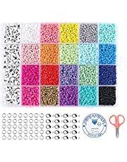 Cuentas de Colores 3mm Mini Cuentas y Abalorios Cristal para DIY Pulseras Collares Bisutería (20Colores) Con dos juegos completos de alfanuméricos