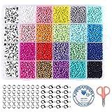 10200 piezas de abalorios para manualidades, 20 colores de cuentas para hacer joyas, con cuentas de letras, pulseras de bricolaje, collares, pendientes, fabricación de anillos, tijeras pequeñas