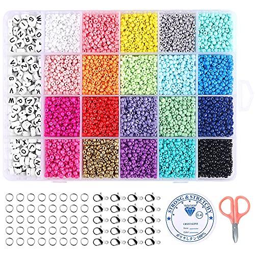 10200 piezas de abalorios para manualidades, 20 colores de cuentas para hacer...