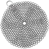 7 inch Round Stainless Steel Cast Iron Skillet Cleaner 316 Metal Chainmail Cleaning Scrubber for Cast Iron Pan Baking Pan BBQ Grills