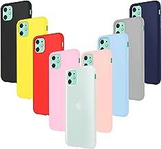 """Leathlux 9 x Funda iPhone 11, 9 Unidades Caso Juntas Fina Silicona TPU Flexible Colores Carcasas iPhone 11 6.1""""-Rosa Carmesí Gris Azul Cielo Amarillo Rojo Azul Oscuro Translúcido Negro"""