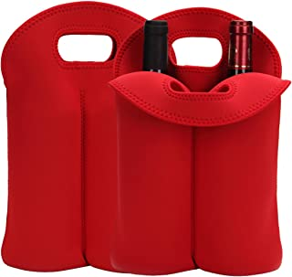 Laishalaiku 2 Pack Neoprene Wine Carrier Tote Bag for Travel, Insulated 2 Bottle Carrying Bag, Thick Neoprene Wine Bottle Holder for Picnics, Beach, Travel