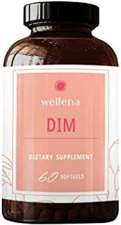 Wellena DIM Supplement 100mg - All Natural Diindolylmethane, Estro Support, Maximum Absorption, Menopause Support, 60-Day ...