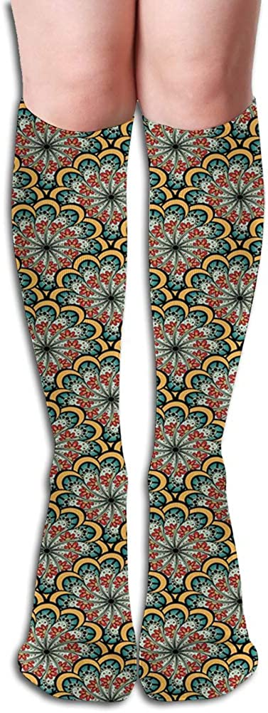 Men's and Women's Funny Casual Combed Cotton Socks,Flourishing Nature Design with Paisley Motif Bohemian Arabesque Pattern