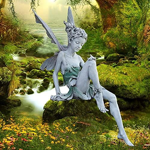 Gartendeko, Gartenfiguren für außen, zaunhocker Garten, Sitzen Magische Fee mit Elfen Flügeln, Miniatur Deko, Garten Ornament Figuren Harz Hof Dekoration Modern Handwerk, Gartenfiguren Statuen Tudors