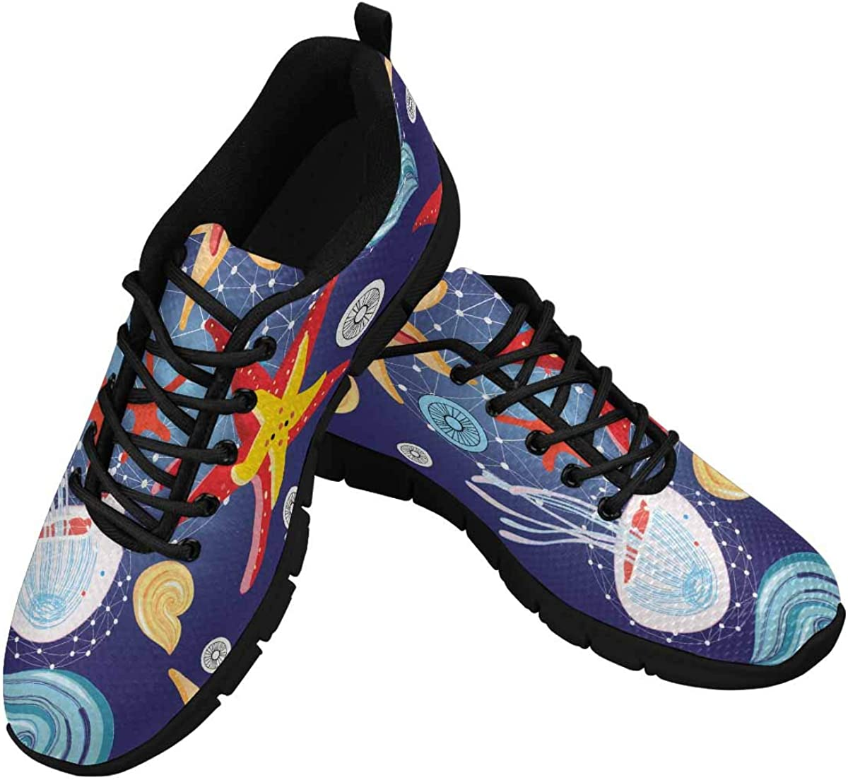 INTERESTPRINT Graphic Pattern of Starfish and Jellyfish Women's Athletic Walking Running Sneakers Comfortable Lightweight Shoes