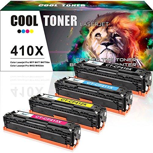 Cool Toner 4 paquetes 410A 410X Compatible HP 410X CF410X CF410A Cartucho de tóner reemplaza para...