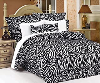 Legacy Decor Beautiful 7 Pc Black and White Zebra Print Faux Fur, King Size Comforter Bedding Set