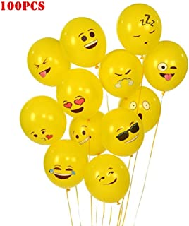 Elloapic 100 Pieces Emoticons-Balloons Wedding Holiday Party Celebration Children's Birthday Layout Scene Atmosphere Decorations, Yellow