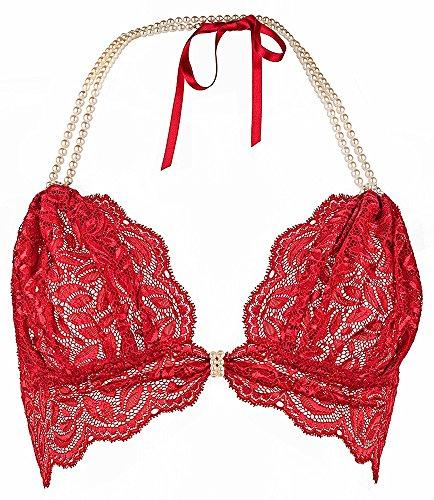 Bracli Perlen-BH Begos rot mit echten Zuchtperlen Grössen M (C/D Cup)