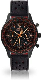DETOMASO Firenze Mens Watch Chronograph Analogue Quartz Black Racing Leather Strap Black Dial SL1624C-BO-840