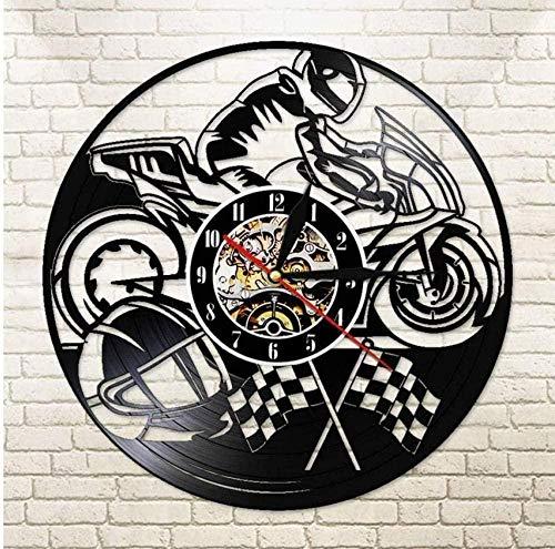 NC83 Reloj de Pared de Motocicleta Reloj de Pared de Vinilo Reloj de Motocicleta Motociclista Racer Regalo Inicio Arte Moderno 30 cm