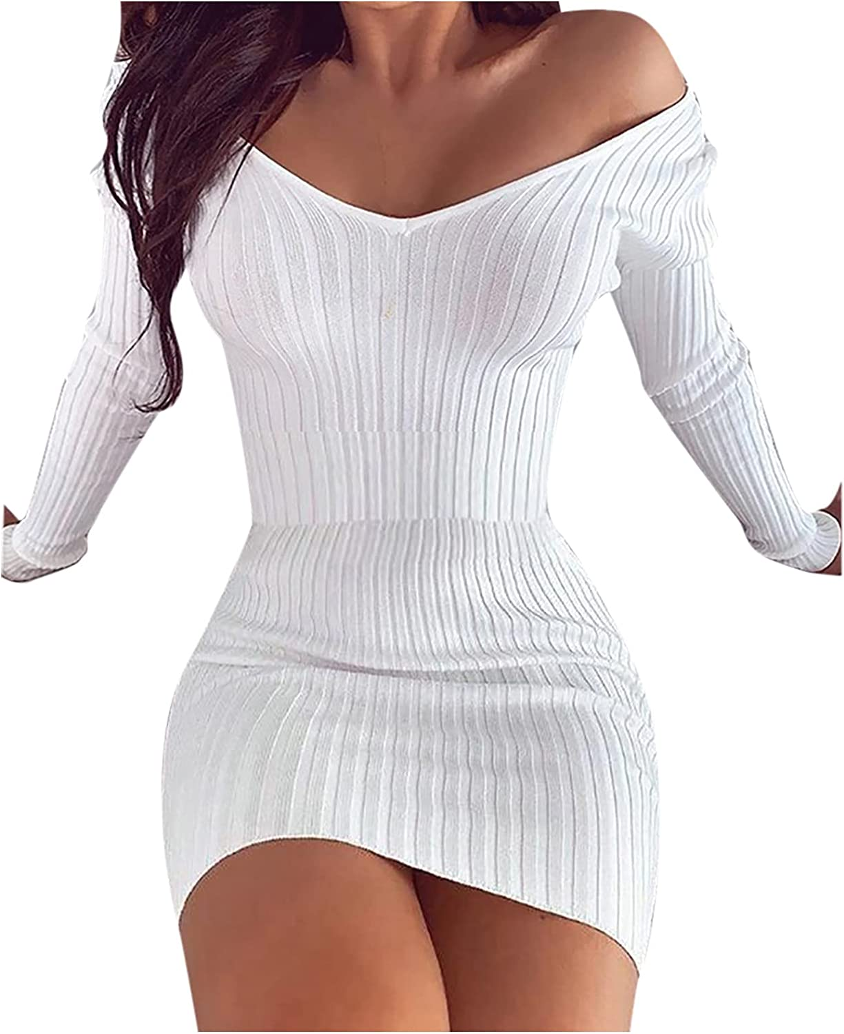 Sexy Mini Dress for Womens Casual Solid Knitted Long Sleeve Dresses Sexy Deep V Club Bodycon Dresses