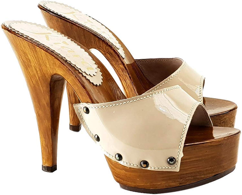 Kiaraskor Italienska Clogs in läder läder läder Beige Heel 13 cm - K901 Beige  Njut av att spara 30-50% rabatt