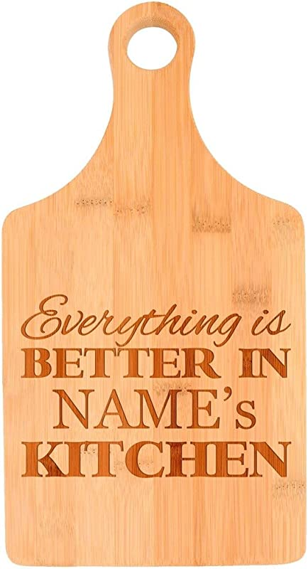 Custom Cooking Gift Enter Name Better Kitchen Personalized Paddle Shaped Bamboo Cutting Board Bamboo