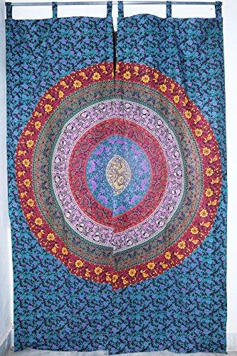 Future faite à la main en gros 5 Rideaux Forest Tie Dye indien fait à la main Mandala Vitrage traitements de fenêtre Home Decor Rideaux Cantonnière Unique Coton Rideaux Rideaux Mandala, Coton, Pack 3, PACK 1 (81\
