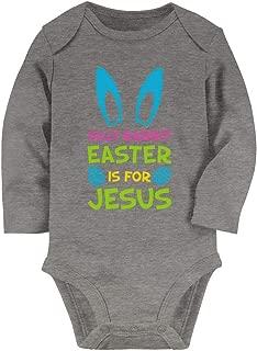 Tstars Silly Rabbit Easter is for Jesus Funny Easter Bunny Baby Long Sleeve Bodysuit