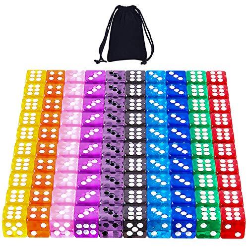 SIQUK 100 Piezas Dados 6 Caras 12mm Dados para Tenzi Casino Dados Juegos de Mesa, 10 Colores Translúcidos