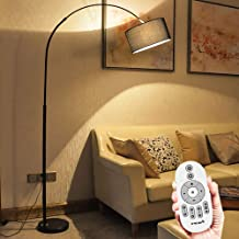 Gluckluz Floor Lamp LED Stand Vintage Arc Pole Light with Remote Control for Living Room Office Bedroom Indoor Home Behind...