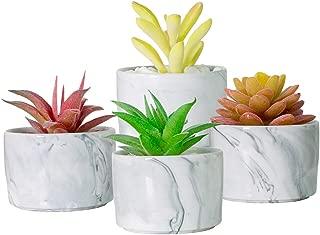 "TRUEDAYS Succulent Cactus Plant Pot Marble Design Ceramic Pot, Mini 3.15"" Flower Planter Pot for Modern Home Decor, Pack of 4"