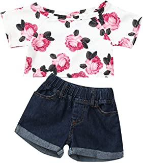 Nudo de Arco Pantalones Cortos Ropa Conjunto 1-4 a/ños Holatee Counjunto de Ropa Beb/é Ni/ña Verano Reci/én Nacido Neb/é Ni/ñas 2PC Manga Corta Florales Camiseta Tops