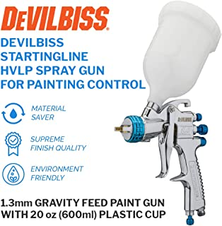 DeVilBiss STARTINGLINE HVLP Spray Gun for Painting Control 1.3mm Gravity Feed Paint Gun with 600milliliter Plastic Cup