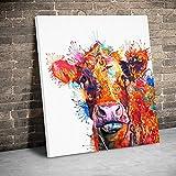 Pinturas en lienzo de vaca de colores pintadas a mano, póster de animales, arte de pared, impresiones en lienzo, imágenes, sala de estar, hogar 40x40 CM (sin marco)