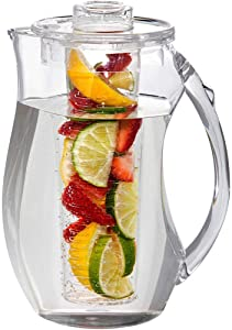 Water Infuser Pitcher – 93Oz Fruit Infuser Water Pitcher By Home Essentials & Beyond – Shatterproof Acrylic Pitcher – Elegant Durable Design – Ideal for Iced Tea, Fruit Infused Water and Juice