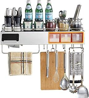 YJKDM Support de Rangement en Acier Inoxydable 304, Support de Rangement de Cuisine Mural Domestique, Support à épices Mul...